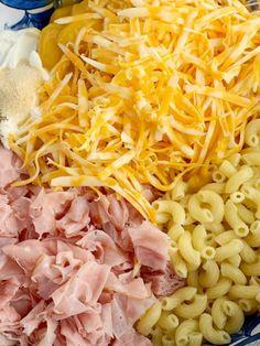 Recipes With Ham Chunks, Mac And Cheese Recipe With Ham, Ham And Cheese Pasta, Ham Pasta, Pasta Dishes, Ham Dishes, Macaroni Pasta, Mac Cheese, Pasta Salad