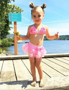- Triangle bikini includes a top covered with rosettes. - Halter straps that tie at back. - 82% polyester , 18% spandex . Little Girl Bikini, Little Girl Swimsuits, Cute Little Girl Dresses, Beautiful Little Girls, Bikini Girls, Pink Bikini Set, Baby Swimsuit, Bikini Swimsuit, Bikini Tops