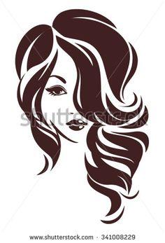 Girl with hair loose, vector logo design