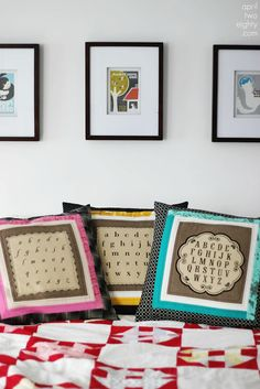 Love these pillows on the red and white churndash quilt