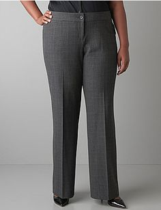 Dark glen plaid adds professional polish to our classic wear-to-work trouser. Designed with our TRS fabric for a fabulous drape and feel, plus a hint of spandex for curve-hugging stretch. Finished with front pockets and button & zip fly closure. lanebryant.com