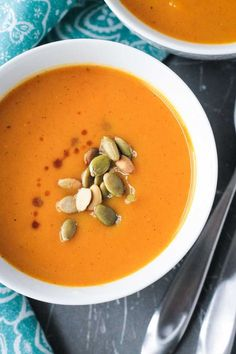 Butternut Squash Apple Soup - silky smooth and perfectly spiced, this dairy free butternut squash soup is perfect for the fall season!