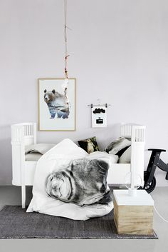 SS15|by nord // lilac walls? Black and white seal bedding.