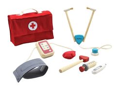 Pretend play as a real doctor and take care of your friends using this professional-like doctor set from Plan Toys! The set teaches Baby Wallpaper, Baby Toys, Kids Toys, Medical Bag, Plan Toys, Islamic Gifts, Non Toxic Paint, Wooden Coasters, Baby Teethers