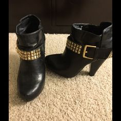 Black booties with gold studded buckle strap Rocker chic ankle booties! Gold studs are the perfect way to dress up or down! Shoes Ankle Boots & Booties