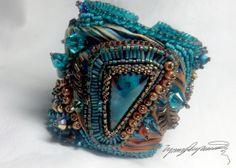 Shibori Turquoise Art Piece Cuff bracelet by Lynn by LynnParpard, $210.00