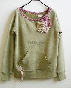 Ecofleece sweatshirt with crochet trim KT444 LARGE by KayLim