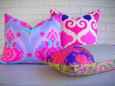 Decorative Pillow Cover - Purple Fuchsia Floral Throw - Feminine Decor - Boho Girls Room. $38.00, via Etsy.
