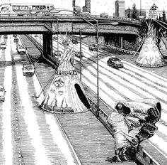 """Jon Strongbow's """"Gone—But Not Forgotten"""" depicts First Peoples from all over the globe interacting with many Seattle locations lost to development. Part of Ghosts of Seattle Past's growing anthology. Waiting Here For You, Chief Seattle, Favorite Pastime, Cartography, Poppies, Ghosts, Artist, Globe, Speech Balloon"""