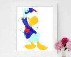 Donald Duck, Goofy, Mickey Mouse, Minnie Mouse, donald duck poster, donald duck watercolour, nursery prints mickey, mickey mouse decor  #Donaldduck #Disney #Disneyland #tsumtsum