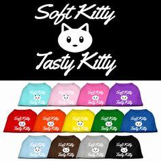 Screen Printed Dog Shirt Fluffy Kitty Tasty Kitty by DirtRoadDog