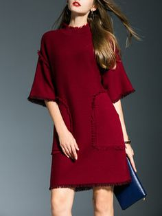 Wine Red Pockets Simple Midi Dress