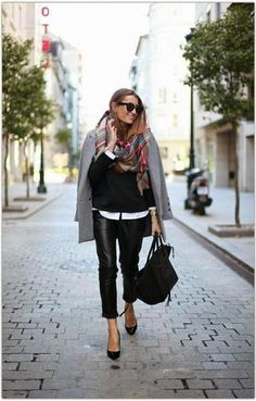 trending: the grey coat - worn with a plaid scarf, layered black sweater over a white shirt + leather pants and pointed toe black heels