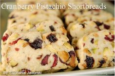 Cranberry Pistachio Shortbread - I don't know who first thought of adding dried red cranberries and green pistachio nuts to a cookie dough but it was a brilliant idea. It makes us all look so clever during the Christmas season, serving a plate of red and green flecked shortbread cookies to match all our red and green decorations
