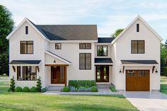 Farmhouse Floor Plans, Modern Farmhouse Exterior, Farmhouse Style, Board And Batten Exterior, Unique House Plans, Breezeway, Story House, Great Rooms, Future House