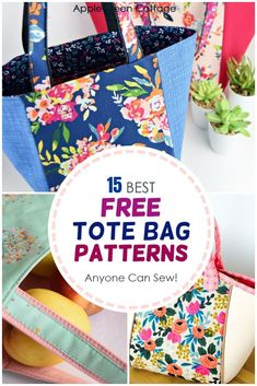 Tote Bag Patterns. Check out more than 15 best tote bag patterns and choose your favorite free tote pattern! Totes can make excellent accessories, and are always great diy gifts: market tote, tablet tote, bag organizer, craft tote, quick tote for beginners, vinyl tote, bucket tote, convertible tote pattern, quilted tote bag, library tote bag, basket tote - you name it! Check all the free tote bag patterns now! #totebagpattern #bagpatterns #freebagpatterns #sewing #totebags Tote Bag Organizer, Best Tote Bags, Quilted Tote Bags, Tote Pattern, Fabric Bags, Sewing Basics, Sewing Projects For Beginners, Sewing Patterns Free, Canvas Bags