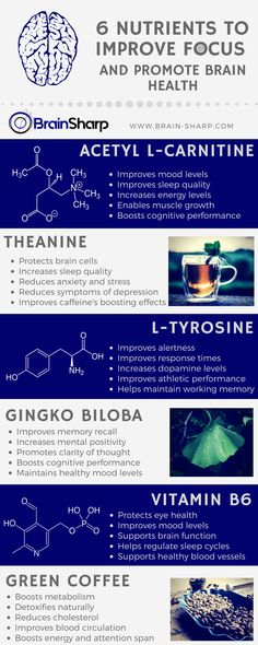 (Infographic) 6 Nutrients to Improve Focus and Promote mental Health