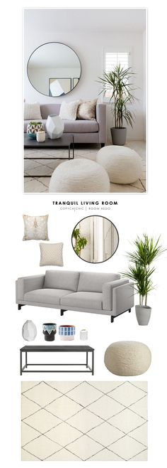 TOTAL | $2,041 SOFA $799 | RUG $262 | COFFEE TABLE $174 OR HERE $90 | WOOL POUFS $129 (EA) | MIRROR $160 | KNIT THROW PILLOW $50 (EA) | METALLIC COW HIDE PILLOW $55 | DRACAENA PLANT $10 | PATTERNED More