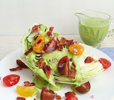 Consider this a no-carb BLT, only instead of mayo you get a creamy avocado dressing.  Get the recipe: Wedge Salad with Tomato, Bacon, and Avocado Green Goddess Dressing   - Delish.com