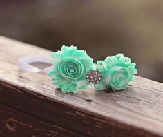 (Someone have a girl so I can buy this) Mint Flower Headband Mint Baby Headband Mint by SweetEllasBoutique, $8.00