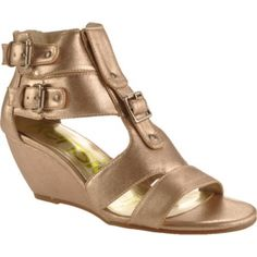 SALE - Womens Kensie Girl Delphine Wedge Heels Gold - $45.95 ONLY. Was $62.00 - You SAVE $16.00. Gold Wedge Heels, Gold Wedges, High Wedges, Girls Heels, Gold Leather, Me Too Shoes, Buy Now, Ankle Strap, Stuff To Buy