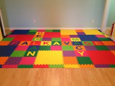 Our playroom floor Interlocking Foam Mats Interlocking Foam Mats Interlocking Foam Mats Playroom Flooring, Kid Names, Clinic, Your Design, Basement, How To Memorize Things, Decor Ideas, Kids Rugs, Make It Yourself