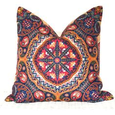 "Bohemian cushion cover hippie pillow cover in blue and orange 18x18"" ($24) ❤ liked on Polyvore featuring home, home decor, throw pillows, orange accent pillows, blue accent pillows, orange home accessories, blue home decor and blue home accessories"