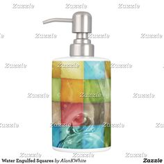Shop Water Engulfed Squares Soap Dispenser & Toothbrush Holder created by AlanKWhite. Modern Bathroom Decor, Bath Accessories, Toothbrush Holder, Soap Dispenser, Squares, Bottle, Water, Soap Dispenser Pump, Gripe Water
