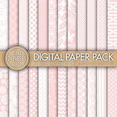 Babyrosa und weiß 24 Pack digitalem Papier - Damaris Floral geometrische - 300 DPI - JPG-Format - 24028
