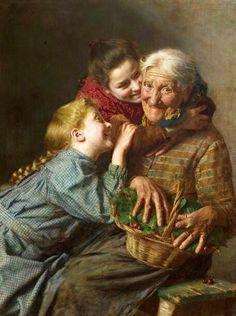 """""""¡Te queremos abuela!"""" (Me enternecen sus pinturas de abuelas y nietos)"""