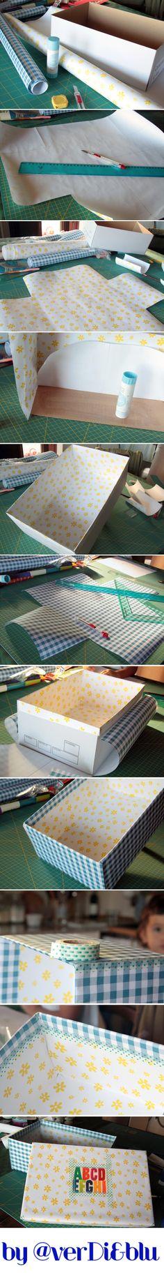rivestire una scatola di scarpe con la carta   #tutorial in italiano   #diy #carta #paper #riciclocreativo
