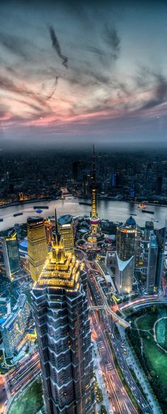 The night skies of Shanghai, China.