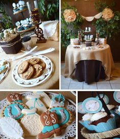 LOVE the Burlap Table Cover, Doilies, Browns and White with Touches of Turquoise!!! Shabby Chic Western Wedding Shower via Kara's Party Ideas | Kara'sPartyIdeas.com