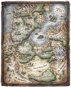 """A map of the enchanted land of the Feywild. Created for the D&D RPG book """"Heroes of the Feywild"""". © 2011 Wizards of the Coast The Feywild"""