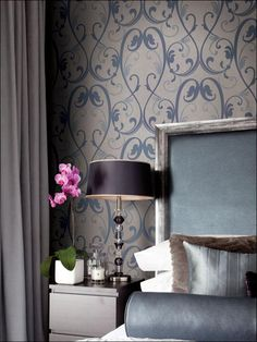 Regency Blue On Satiny Taupe Wallpaper Brand:Collins and Company Book:Panache Item #:WTG-102630 MSRP: $73.99 Your Price: $62.99  per Single Roll This Wallpaper is priced in single rolls and packaged in double rolls  Quantity:   Order a samplefor only $5.99  Email a friendFacebookDiggGoogle Bookmarks