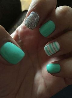Splendid Loving my teal and silver nails! The post Loving my teal and silver nails!… appeared first on Nails . Mint Nail Designs, Cute Summer Nail Designs, Short Nail Designs, Acrylic Nail Designs, Acrylic Nails, Coffin Nails, Nail Designs For Kids, Summer Design, Art Designs