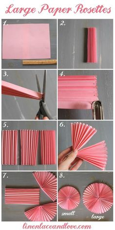 How to DIY Easy Beautiful Paper Rosettes – DIY Tutorials DIY Party decor Related DIY Basteln zum Valentinstag für Kinder - Lolly Brilliant Crafts To Make And Sell For Extra Cash. Diy Party Decorations, Paper Decorations, Birthday Decorations, Diy Party Fans, Diy Simple, Easy Diy, Papier Diy, Paper Fans, Paper Flowers