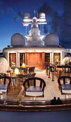 Wishing you Good Night from an Luxurious Yacht Deck