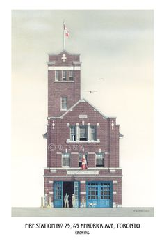 Fire Station Art Toronto Hall No. 25 Hendrick by WaltsTSquare Brick Cladding, Fire Hall, Art Toronto, Firefighter Gifts, Architectural Prints, Historical Architecture, Willis Tower, Empire State Building, Image