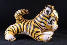 1940s rare vintage small stuffed vinyl tiger from Japan, WWII toy, very nice - SOLD