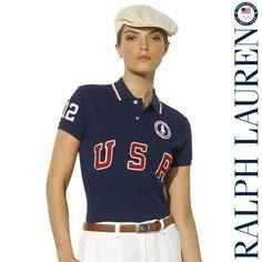 Ralph Lauren USA Women's London 2012 Basic Mesh Polo - Navy Blue