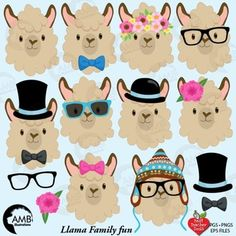 Llama Heads Clip Art, Alpaca Clipart, Animal Faces, from Best Teacher Tools Alpacas, Images Lama, Llama Clipart, Llama Decor, Llama Face, Llama Birthday, Llama Alpaca, Teacher Tools, Animal Faces