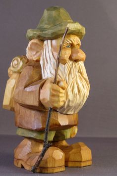 Wood Carving Hiker Backpack Nordic Statue
