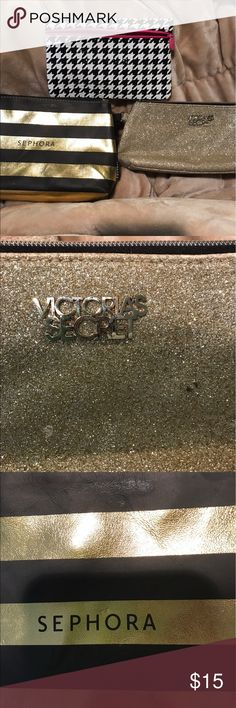 Three makeup bags Picture two shows flaws on Victoria's Secret bag. Bags Cosmetic Bags & Cases