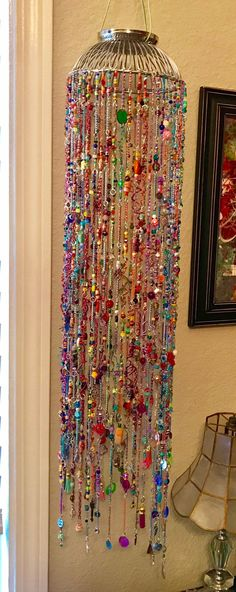 Excited to share this item from my shop: Beaded Bohemian Mobile Bohemian Crafts, Boho Decor, Glass Bead Crafts, Glass Beads, Carillons Diy, Diy Wind Chimes, Deco Boheme, Beaded Curtains, Bohemian Design