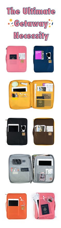 Ready to escape? First, grab this sleek organizer! It'll keep your belongings organized so you won't have to. With 9 pockets & 2 document pockets, you won't lose vital travel items like your passport or boarding pass! Everything has its place so you know where they are. Keep your iPad or tablet in the middle pocket & stash cards & earbuds in the inner pockets. This stylish pouch is an easy carry-on, it holds everything you need for the flight & more! All you need to do is relax & enjoy the…