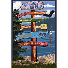 Whidbey Island (Blue), Washington - Destinations Sign - Lantern Press Artwork (Acrylic Serving Tray)