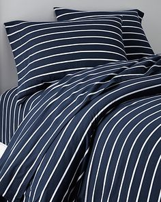 Made to cuddle in, these substantial combed-cotton sheets boast an incredibly soft and smooth hand. Knit to perfection, our jersey bedding stays smooth on the bed without twisting, and looks great wash after wash. College Bedding, Dreams Beds, Striped Jersey, Cotton Sheets, Flat Sheets, House Rooms, Dorm Room, Home Furniture, House Plans