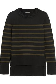 """I'm obsessed with stripes and Alexander McQueen's take on a Breton sweater in army green and black is a design classic with a twist."" - Sarah Rutson, Vice President of Global Buying #TheRutsonReport"