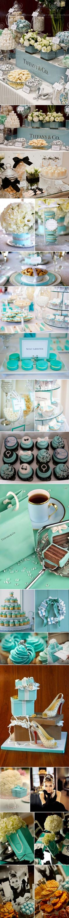 Hey @Mercedes Martin this made me think of you     Tiffany & Co. Theme  ( I love this movie and I love this idea for a classy wedding) I would deff not wear a black dress but my brides maids could! SO PRETTY)